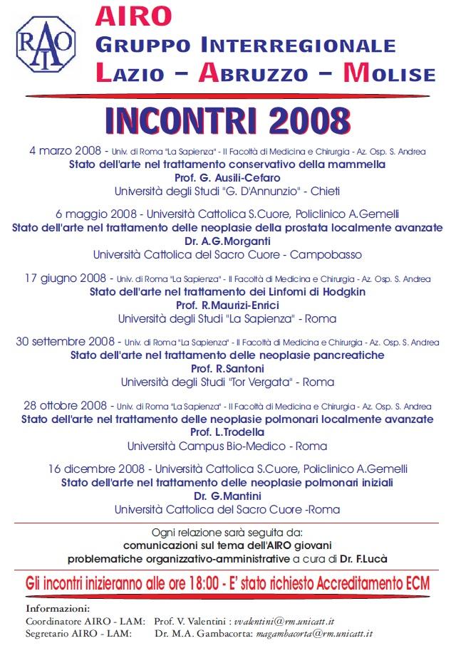 Calendario Unicatt.Immagine 2008 Calendario Incontri Associazione Italiana
